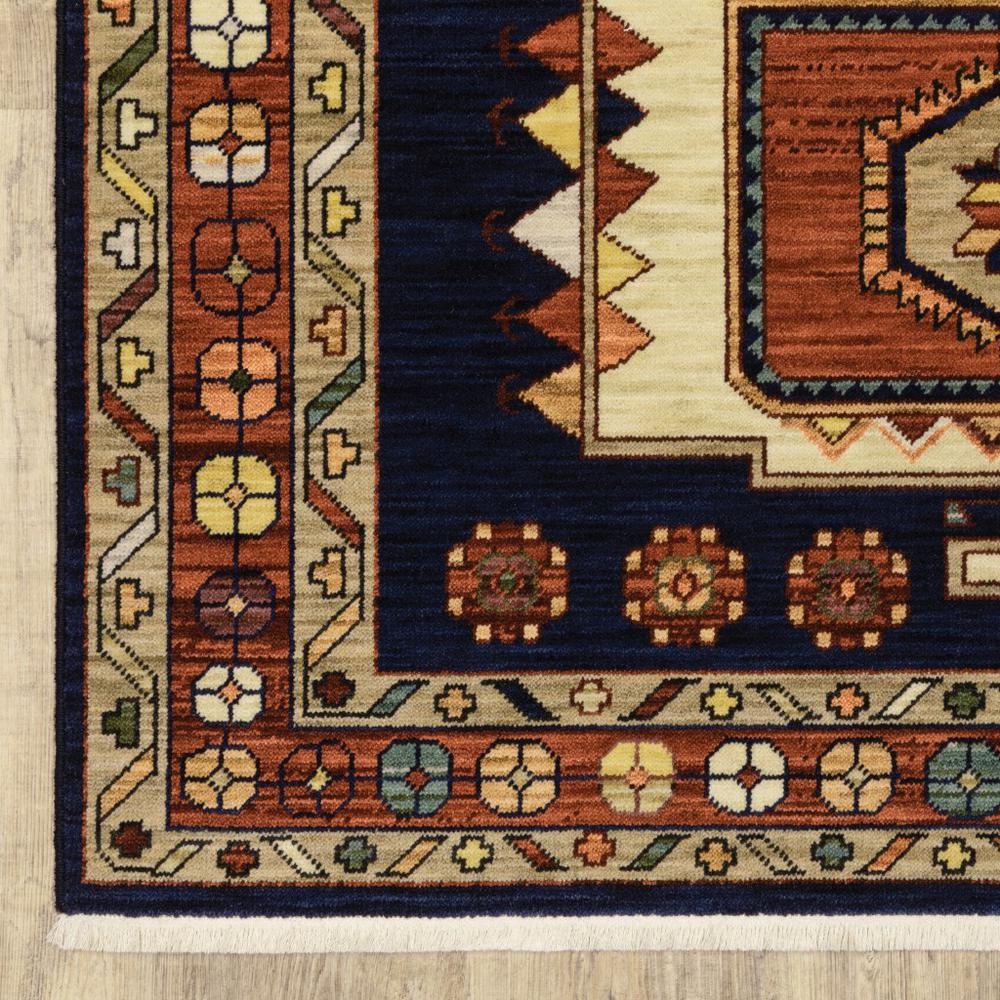 6' Blue Red Machine Woven Medallions Indoor Runner Rug - 388374. Picture 2
