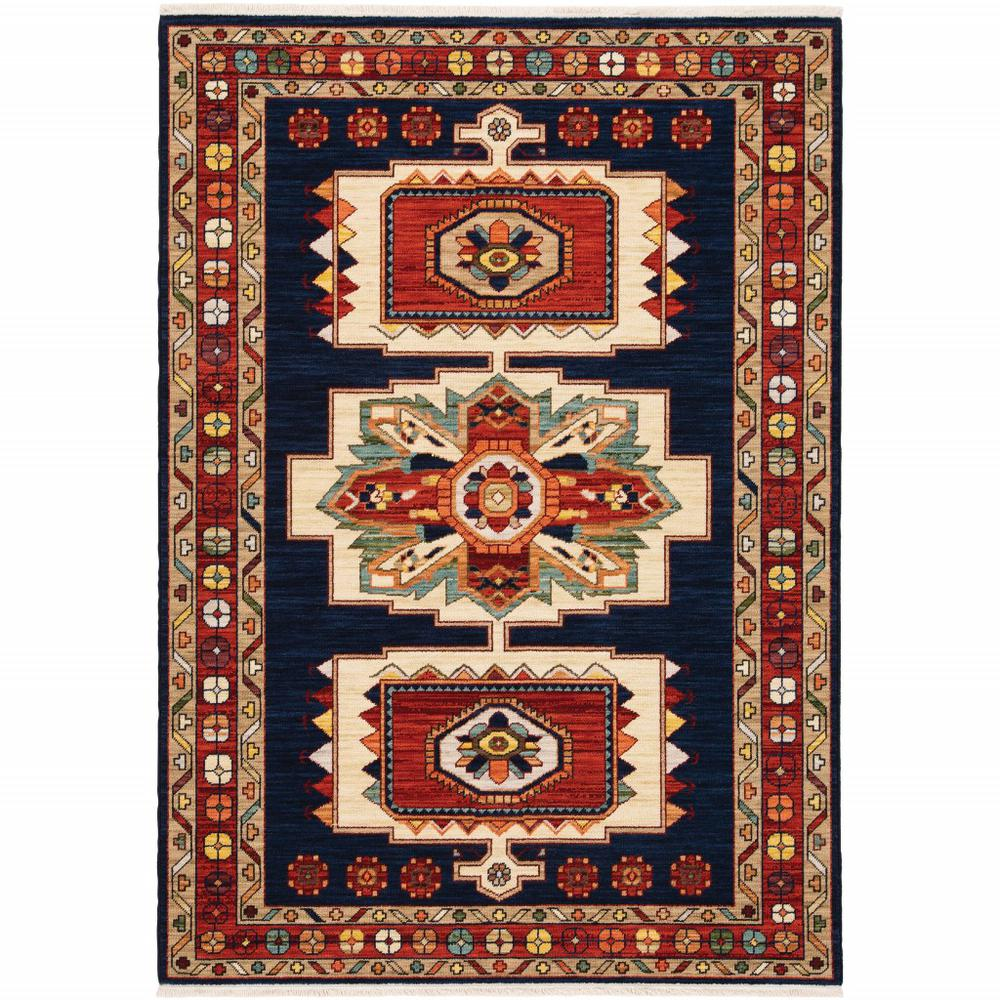 3' x 5' Blue Red Machine Woven Medallions Indoor Area Rug - 388376. Picture 1