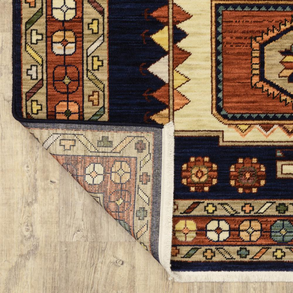 7' x 10' Blue Red Machine Woven Medallions Indoor Area Rug - 388379. Picture 3