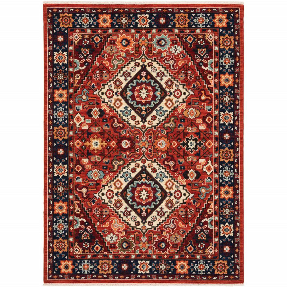 5' x 8' Red Blue Machine Woven Oriental Indoor Area Rug - 388385. Picture 1
