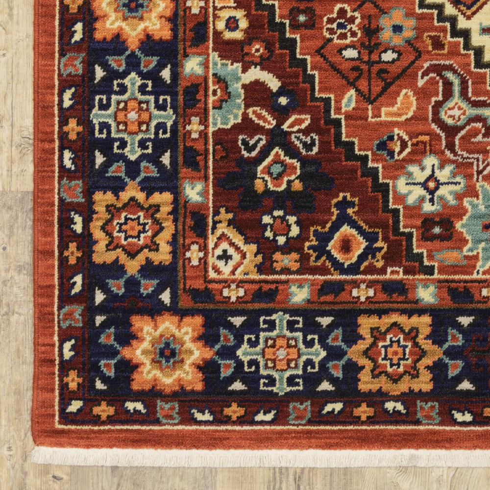 5' x 8' Red Blue Machine Woven Oriental Indoor Area Rug - 388385. Picture 2