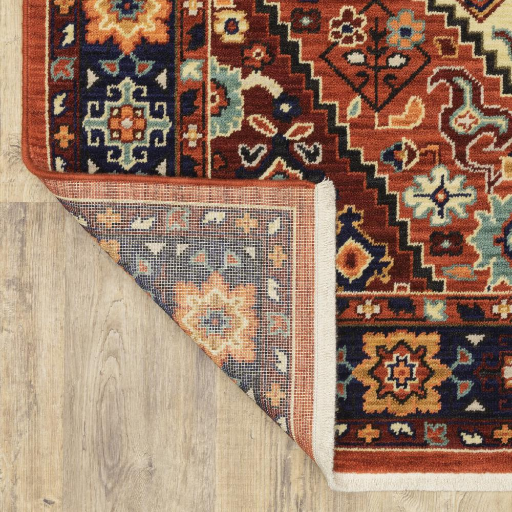 5' x 8' Red Blue Machine Woven Oriental Indoor Area Rug - 388385. Picture 3