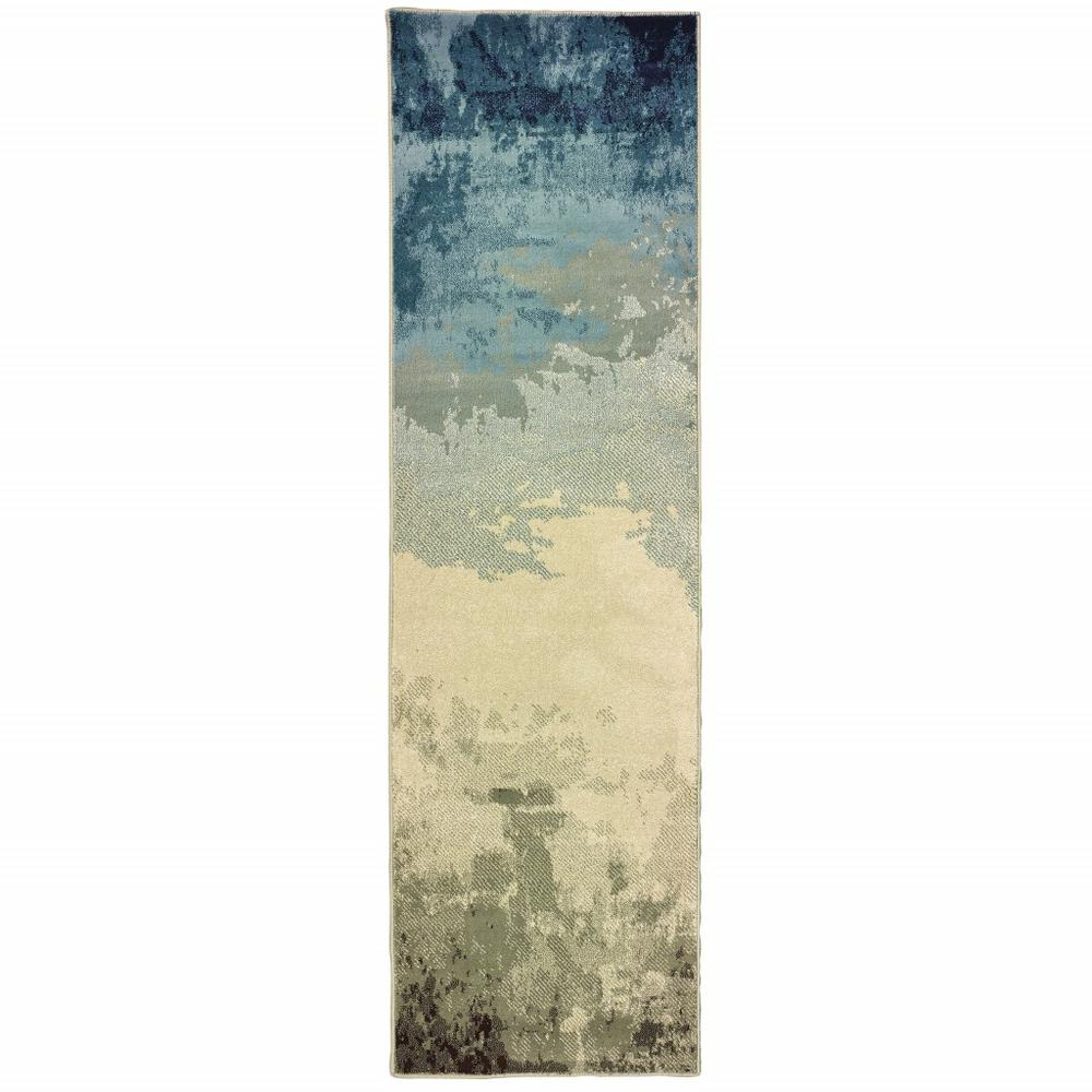 8' Blue Beige Machine Woven Abstract Skies Indoor Runner Rug - 388389. Picture 1
