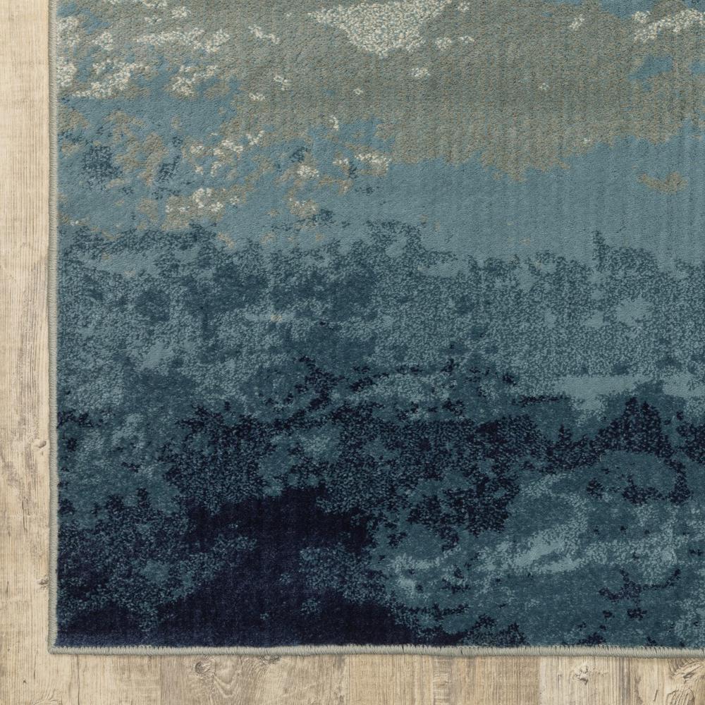 8' Blue Beige Machine Woven Abstract Skies Indoor Runner Rug - 388389. Picture 2