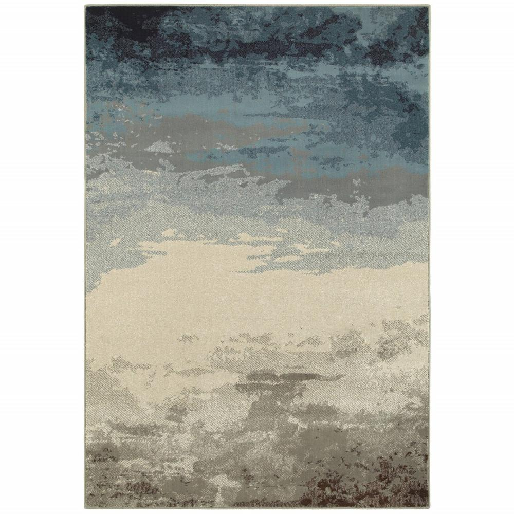 7' x 10' Blue Beige Machine Woven Abstract Skies Indoor Area Rug - 388393. Picture 1