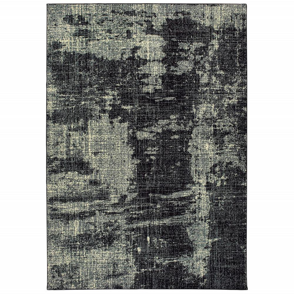 7' x 10' Black Ivory Machine Woven Abstract Indoor Area Rug - 388409. Picture 1