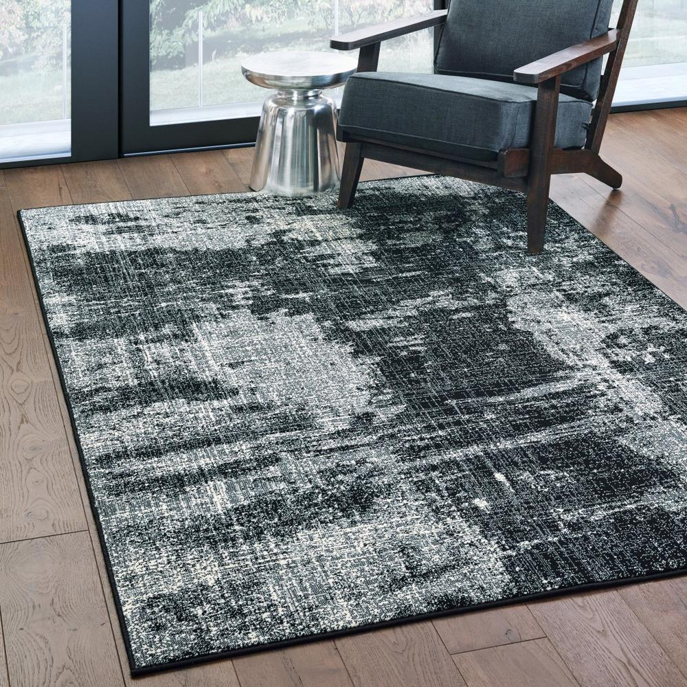 7' x 10' Black Ivory Machine Woven Abstract Indoor Area Rug - 388409. Picture 3