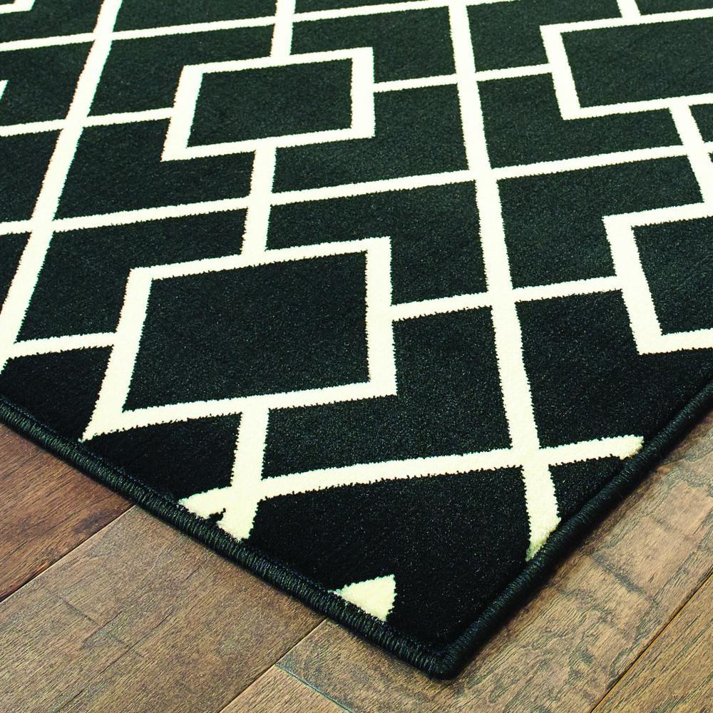 8' Black Ivory Machine Woven Geometric Diamonds Indoor Runner Rug - 388411. Picture 2