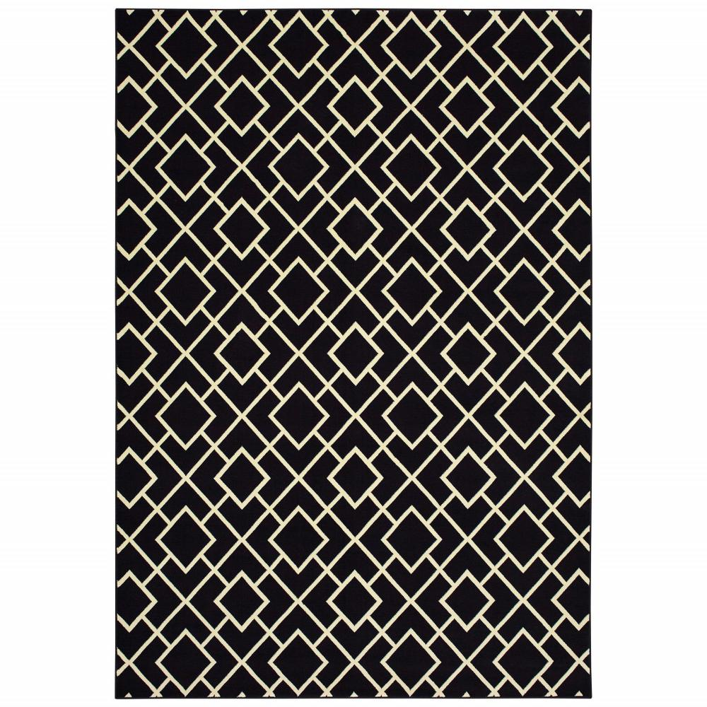 6' x 9' Black Ivory Machine Woven Geometric Diamonds Indoor Area Rug - 388414. Picture 1