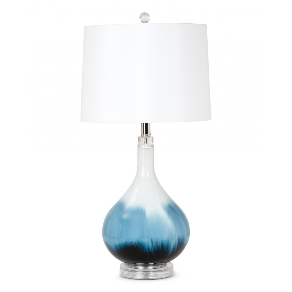 Set of 2 Ombre Blue and White Glass Table Lamps - 388546. Picture 1