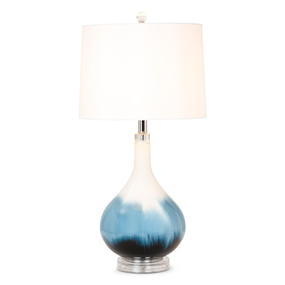 Set of 2 Ombre Blue and White Glass Table Lamps - 388546. Picture 2