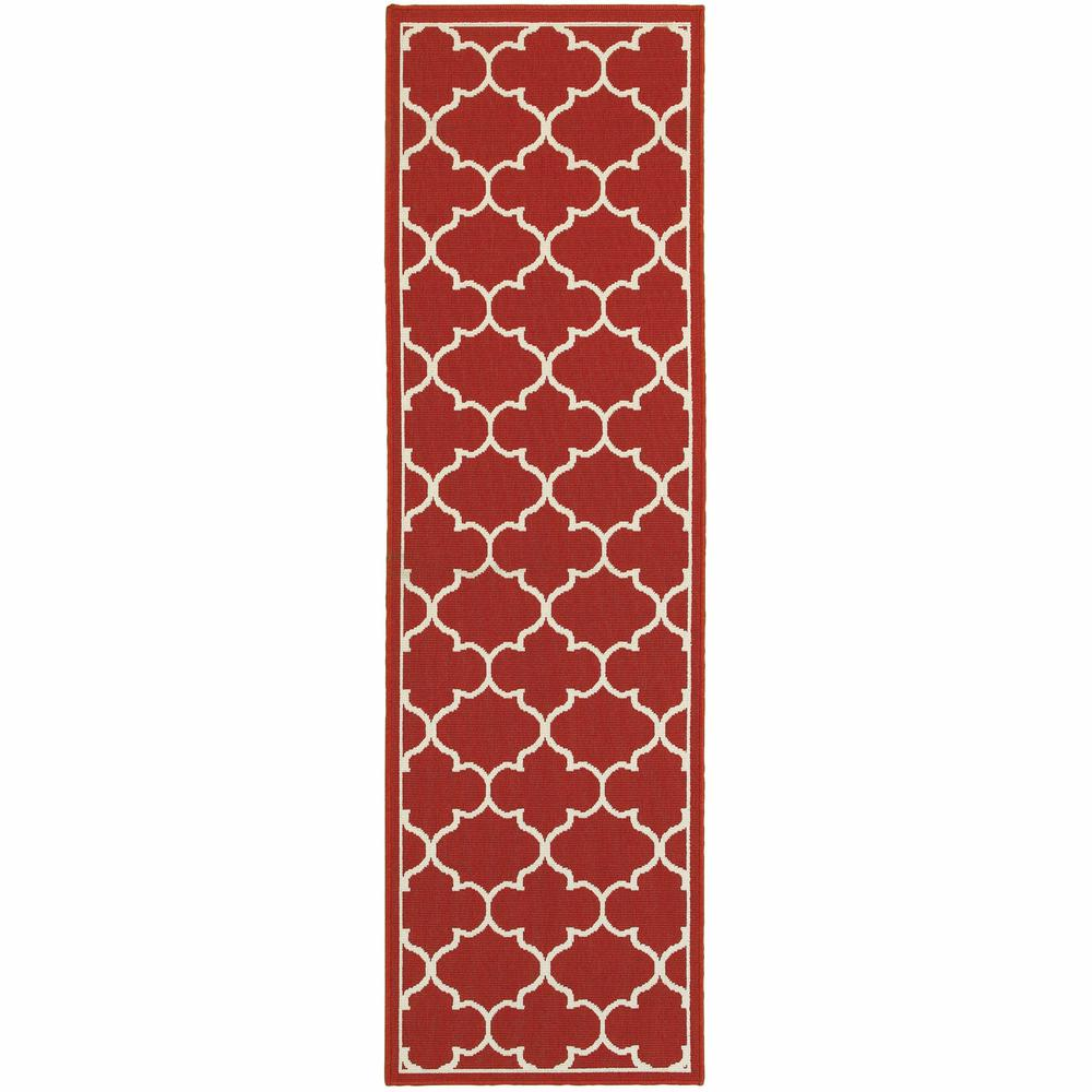 2'x8' Red and Ivory Trellis Indoor Outdoor Runner Rug - 388659. Picture 1