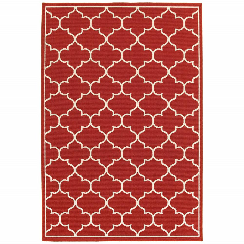 7'x10' Red and Ivory Trellis Indoor Outdoor Area Rug - 388662. Picture 1