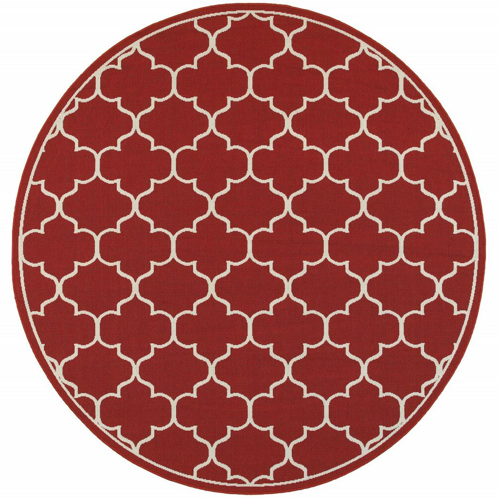 8' Round Red and Ivory Trellis Indoor Outdoor Area Rug - 388664. Picture 1