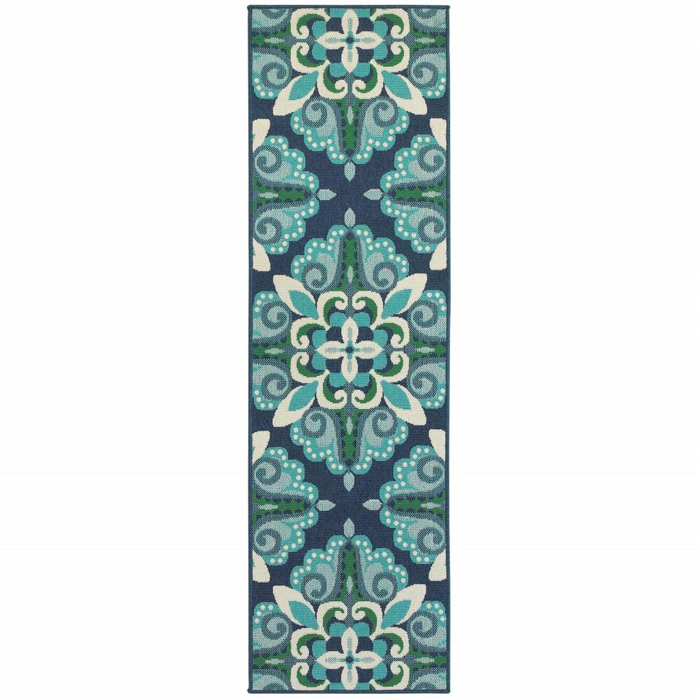 2'x8' Blue and Green Floral Indoor Outdoor Runner Rug - 388666. Picture 1