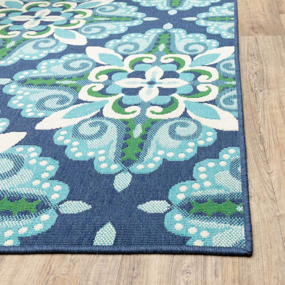 2'x8' Blue and Green Floral Indoor Outdoor Runner Rug - 388666. Picture 2