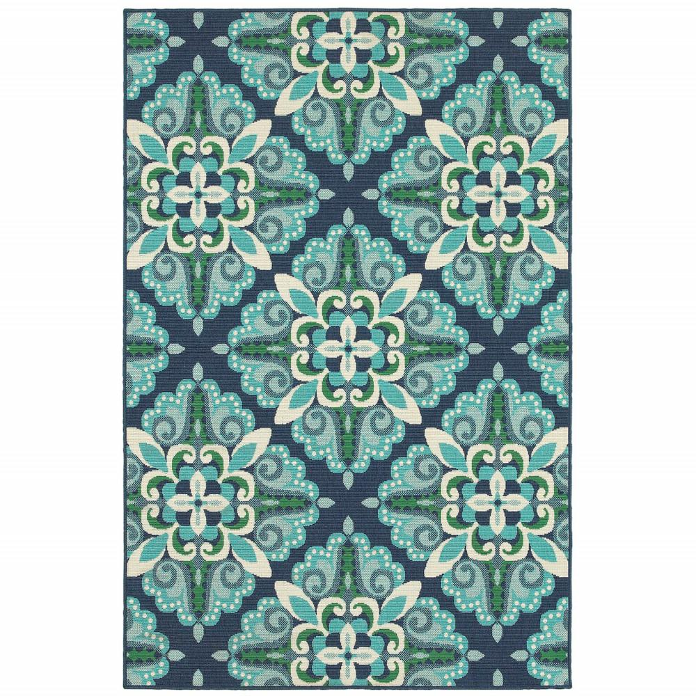 9'x13' Blue and Green Floral Indoor Outdoor Area Rug - 388672. Picture 1