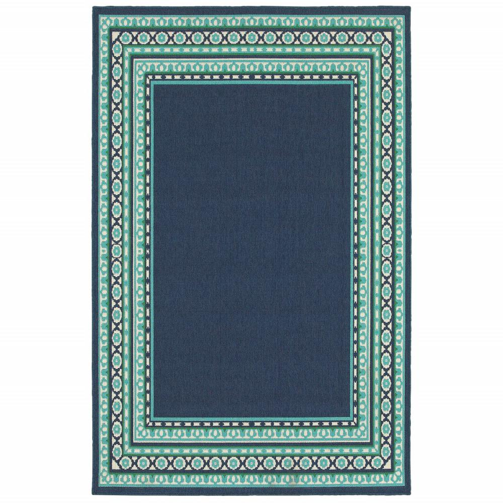 9'x13' Navy and Green Geometric Indoor Outdoor Area Rug - 388679. Picture 1