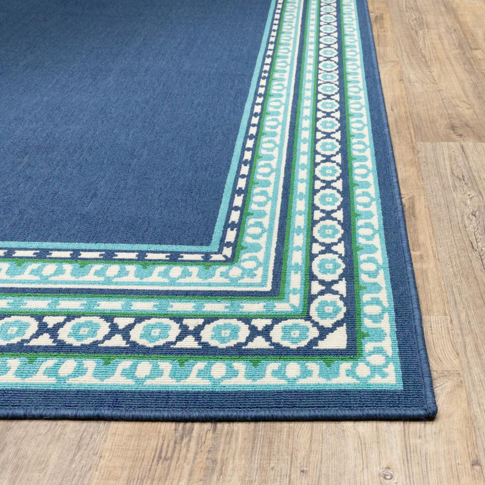 9'x13' Navy and Green Geometric Indoor Outdoor Area Rug - 388679. Picture 2