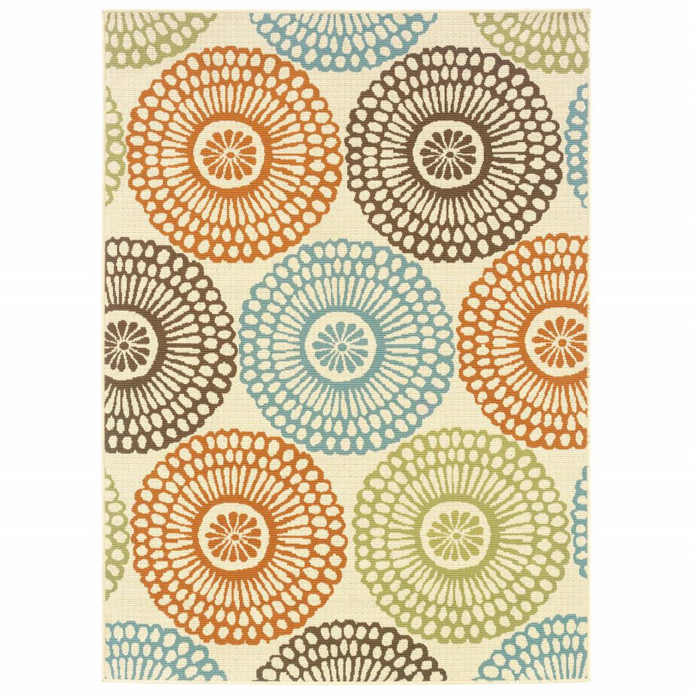 8'x11' Beige and Blue Medallion Indoor Outdoor Area Rug - 388693. Picture 1