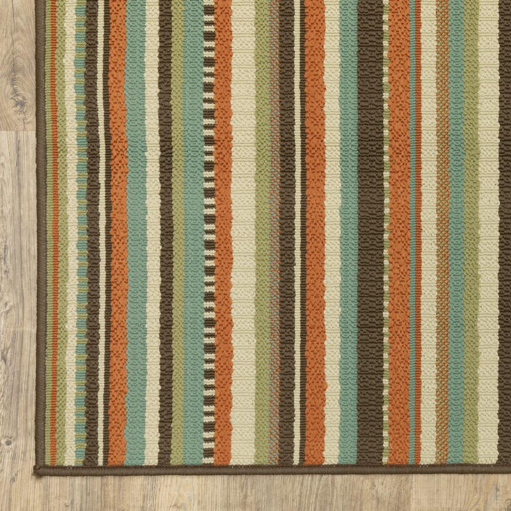 7'x10' Green and Brown Striped Indoor Outdoor Area Rug - 388700. Picture 2