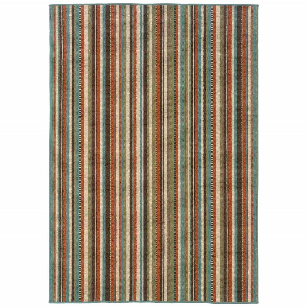8'x11' Green and Brown Striped Indoor Outdoor Area Rug - 388701. Picture 1
