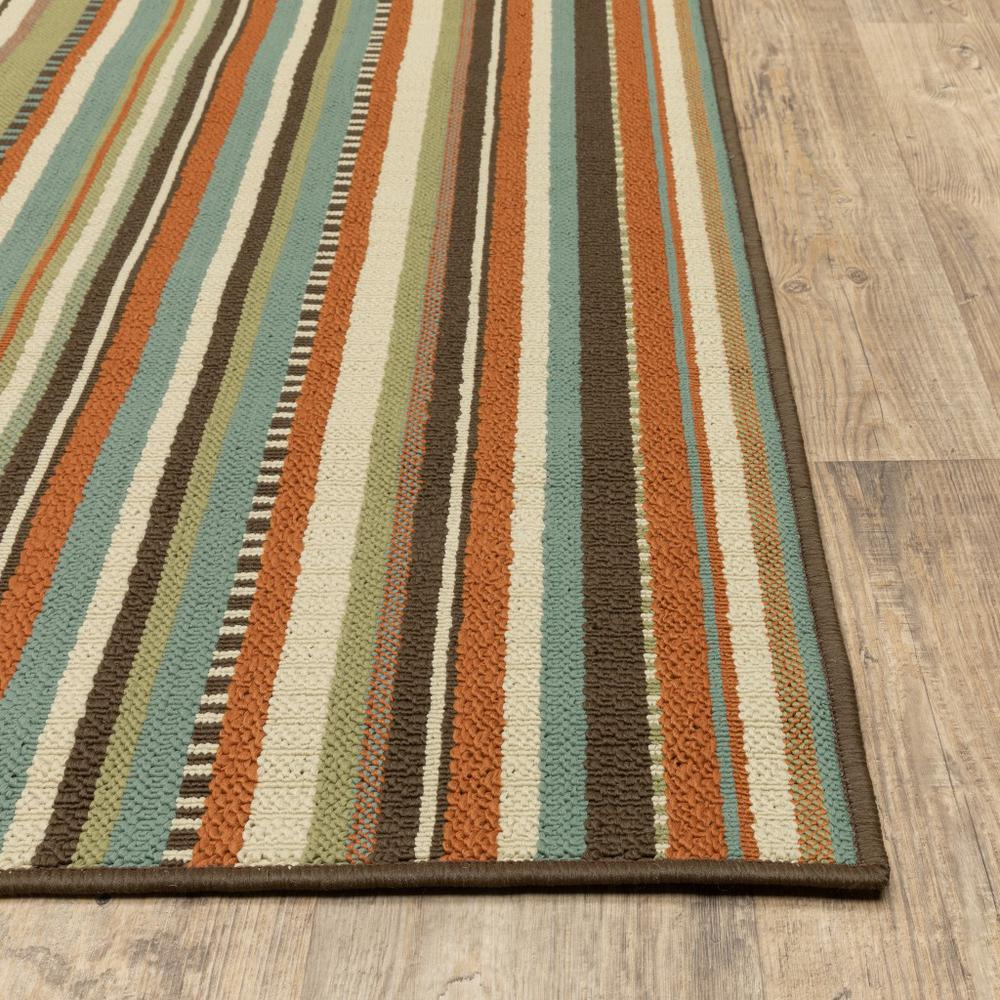 8'x11' Green and Brown Striped Indoor Outdoor Area Rug - 388701. Picture 3