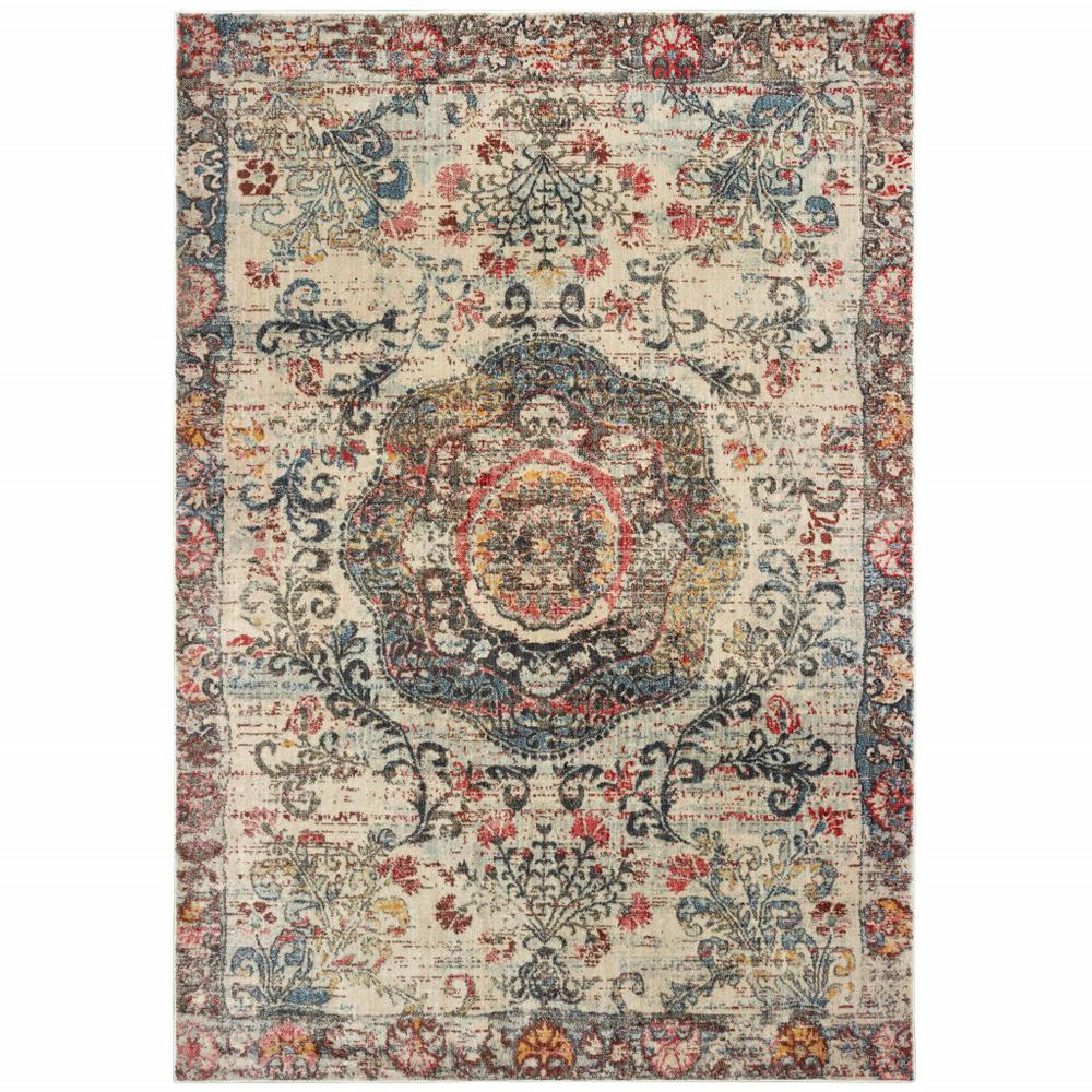 8'x11' Ivory Distressed Medallion Area Rug - 388708. Picture 1