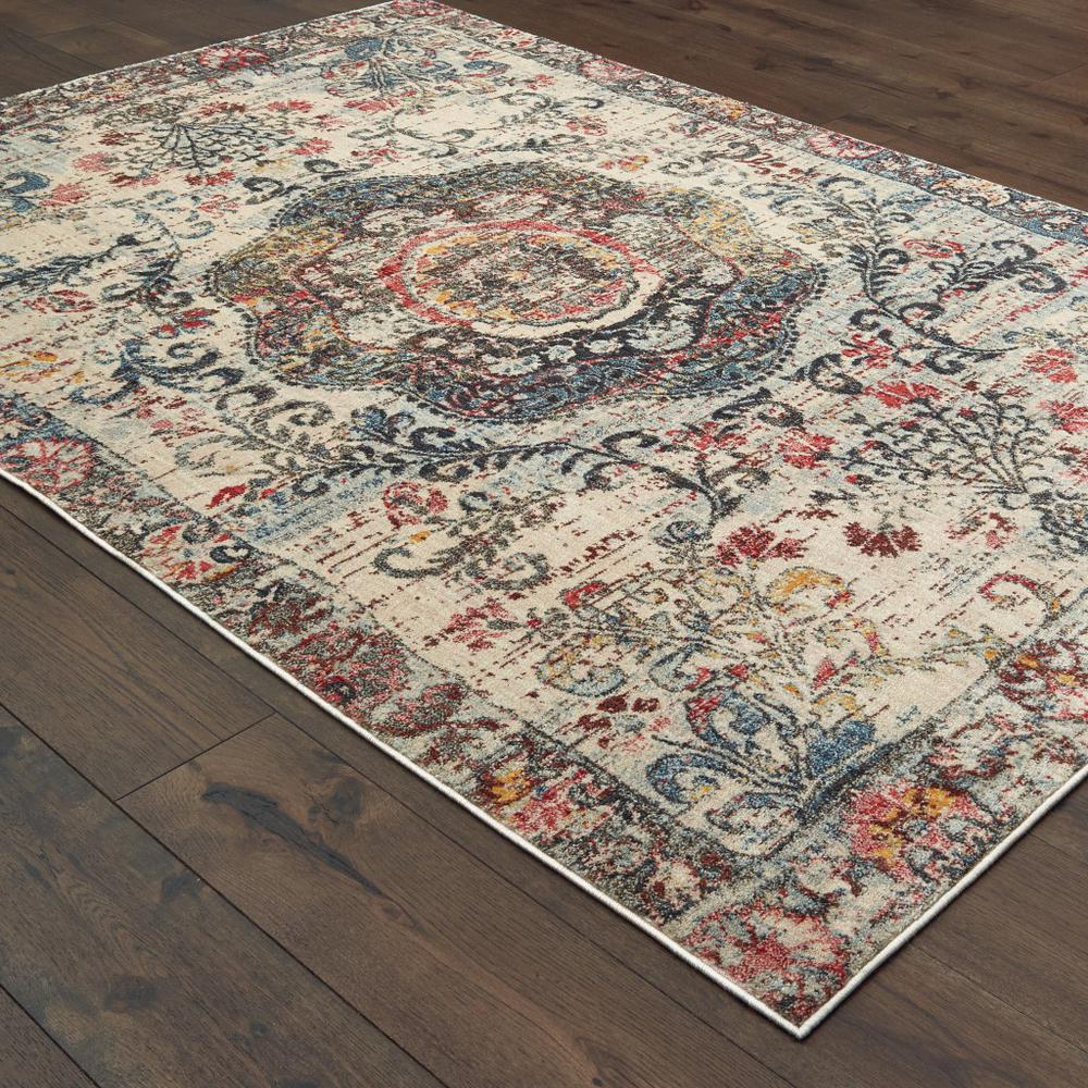 8'x11' Ivory Distressed Medallion Area Rug - 388708. Picture 3