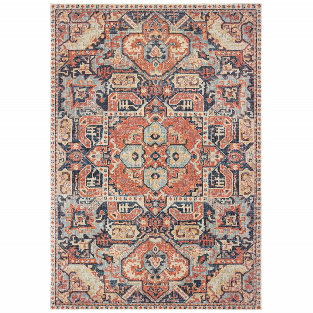 8'x11' Blue and Orange Tribal Area Rug - 388714. Picture 1