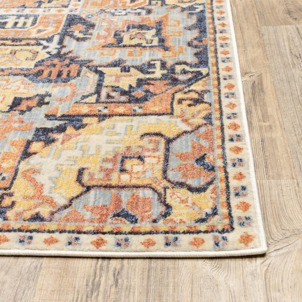 8'x11' Blue and Orange Tribal Area Rug - 388714. Picture 2