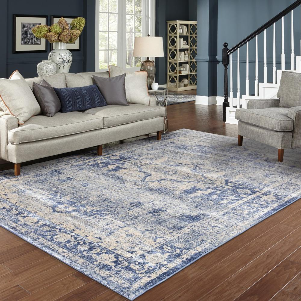 7'x10' Ivory and Blue Oriental Area Rug - 388719. Picture 3