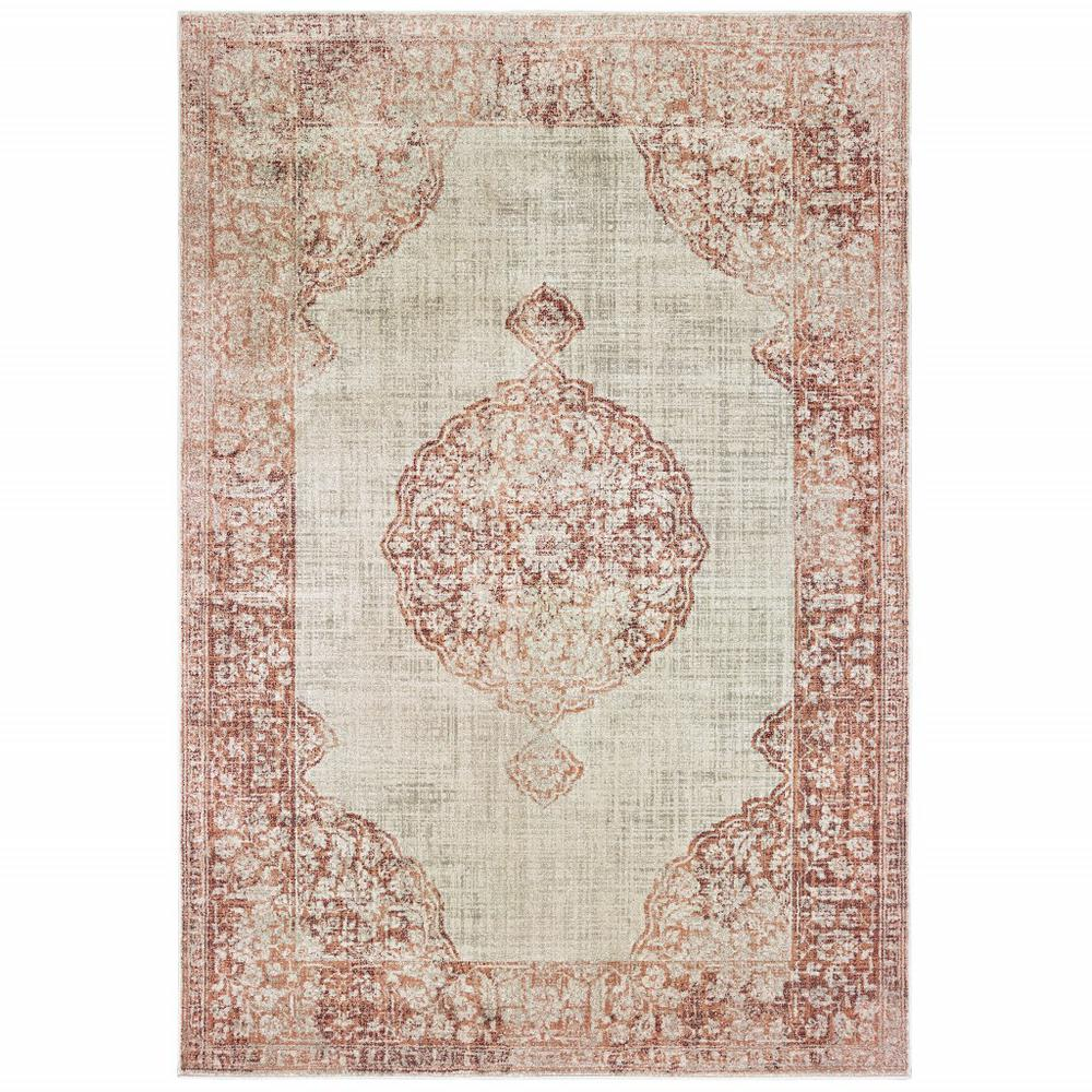 7'x10' Ivory and Pink Medallion Area Rug - 388725. Picture 1