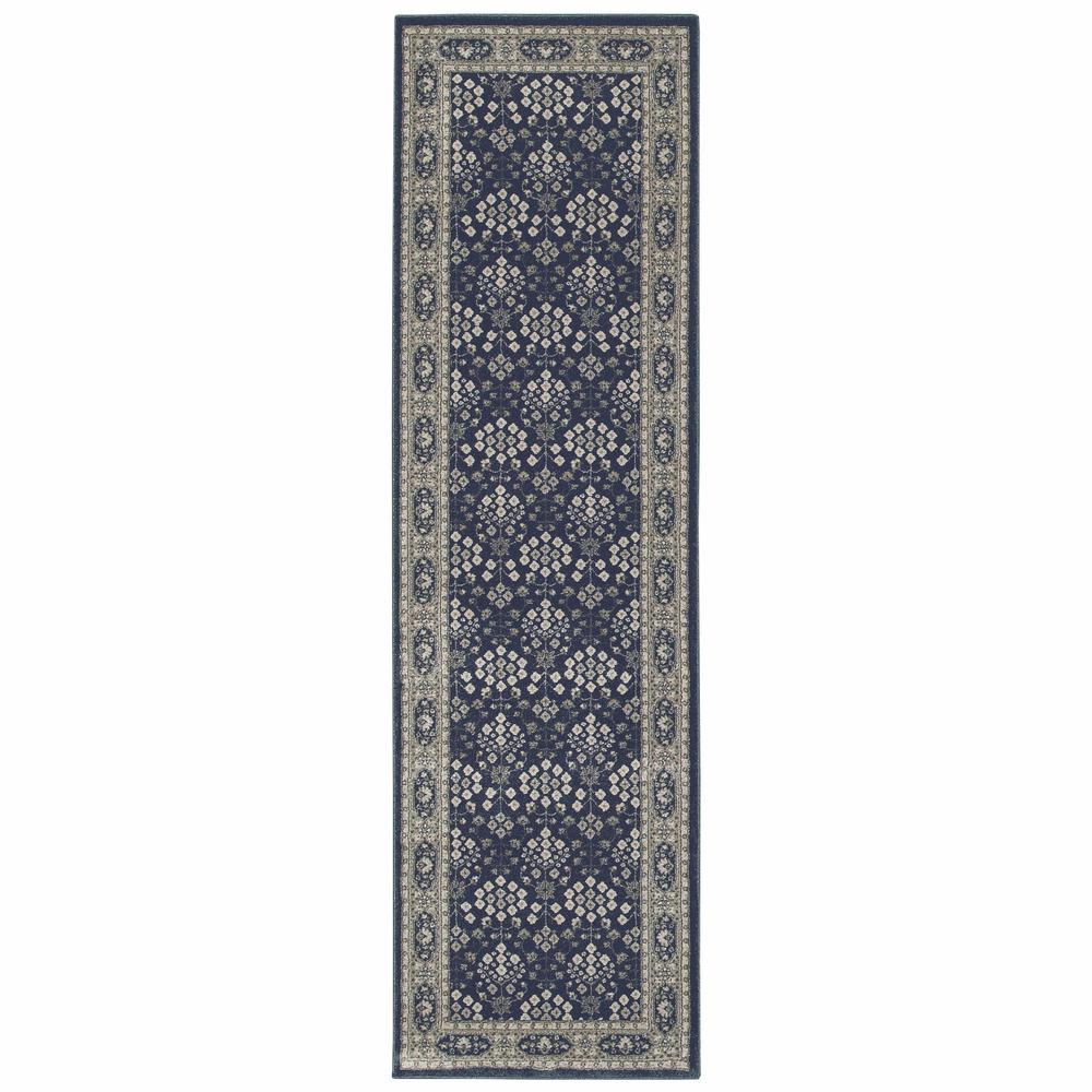 2'x8' Navy and Gray Floral Ditsy Runner Rug - 388740. Picture 1