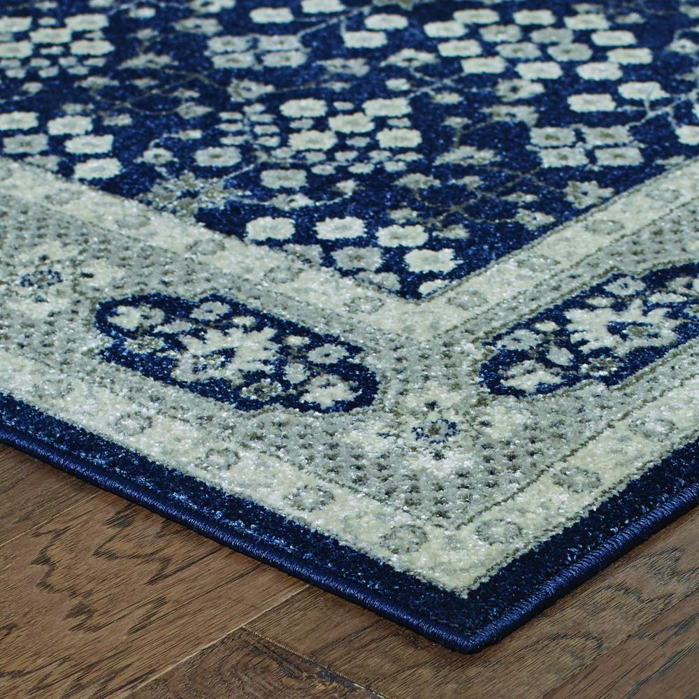 2'x8' Navy and Gray Floral Ditsy Runner Rug - 388740. Picture 2