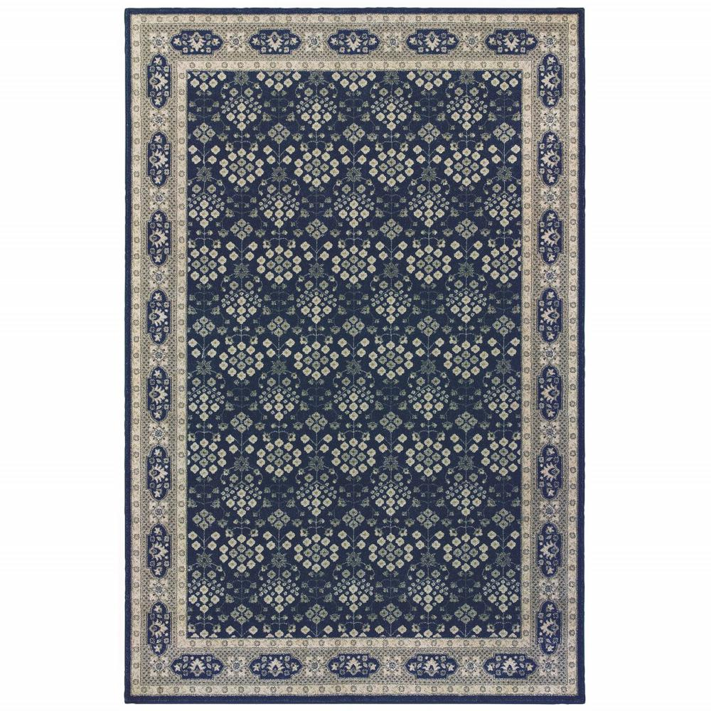 8'x11' Navy and Gray Floral Ditsy Area Rug - 388744. Picture 1
