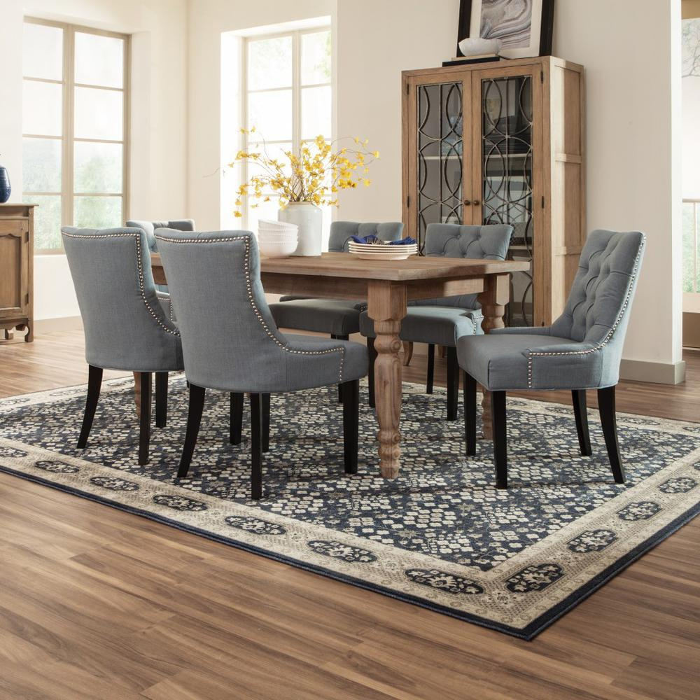 8'x11' Navy and Gray Floral Ditsy Area Rug - 388744. Picture 3