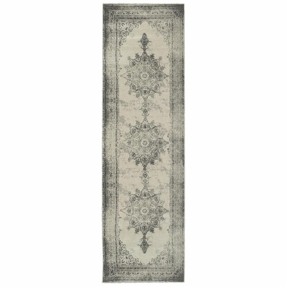 2'x8' Ivory and Gray Pale Medallion Runner Rug - 388748. Picture 1