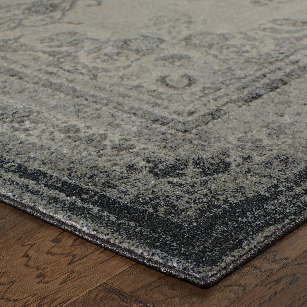 2'x8' Ivory and Gray Pale Medallion Runner Rug - 388748. Picture 2