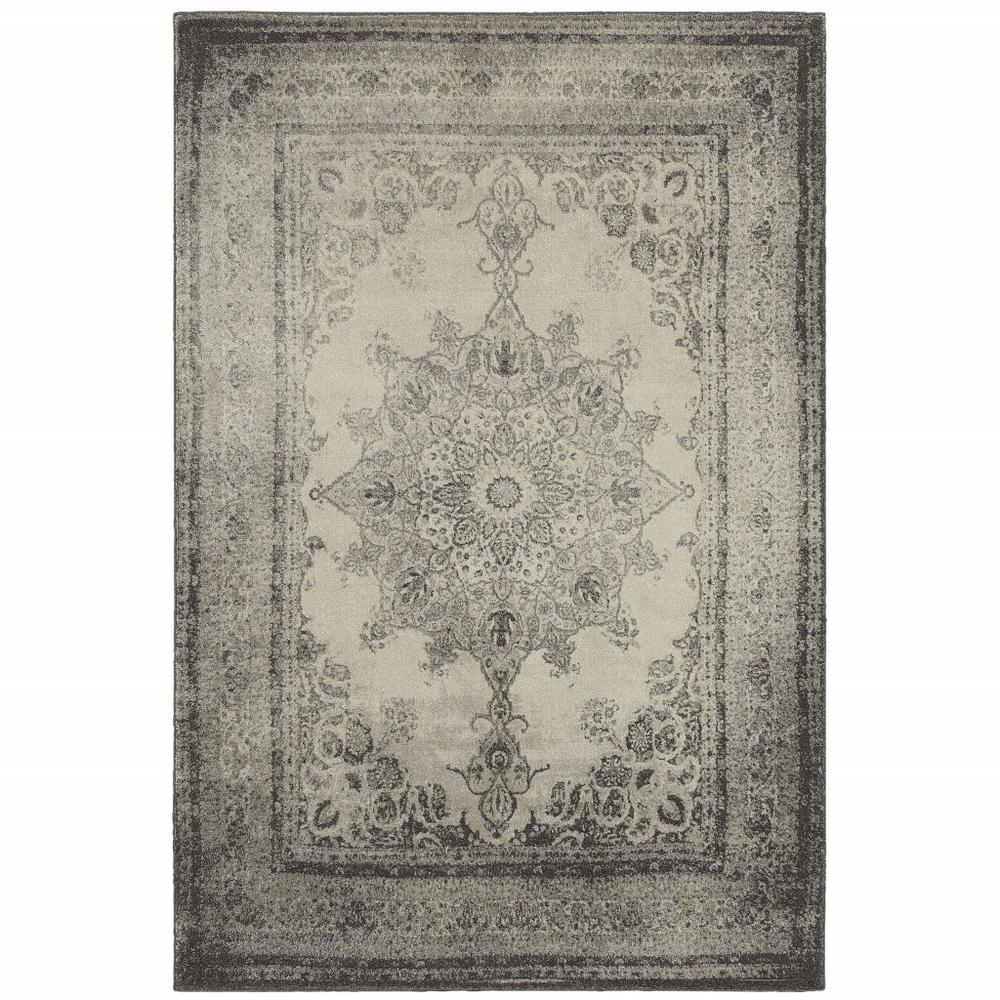 8'x11' Ivory and Gray Pale Medallion Area Rug - 388752. Picture 1