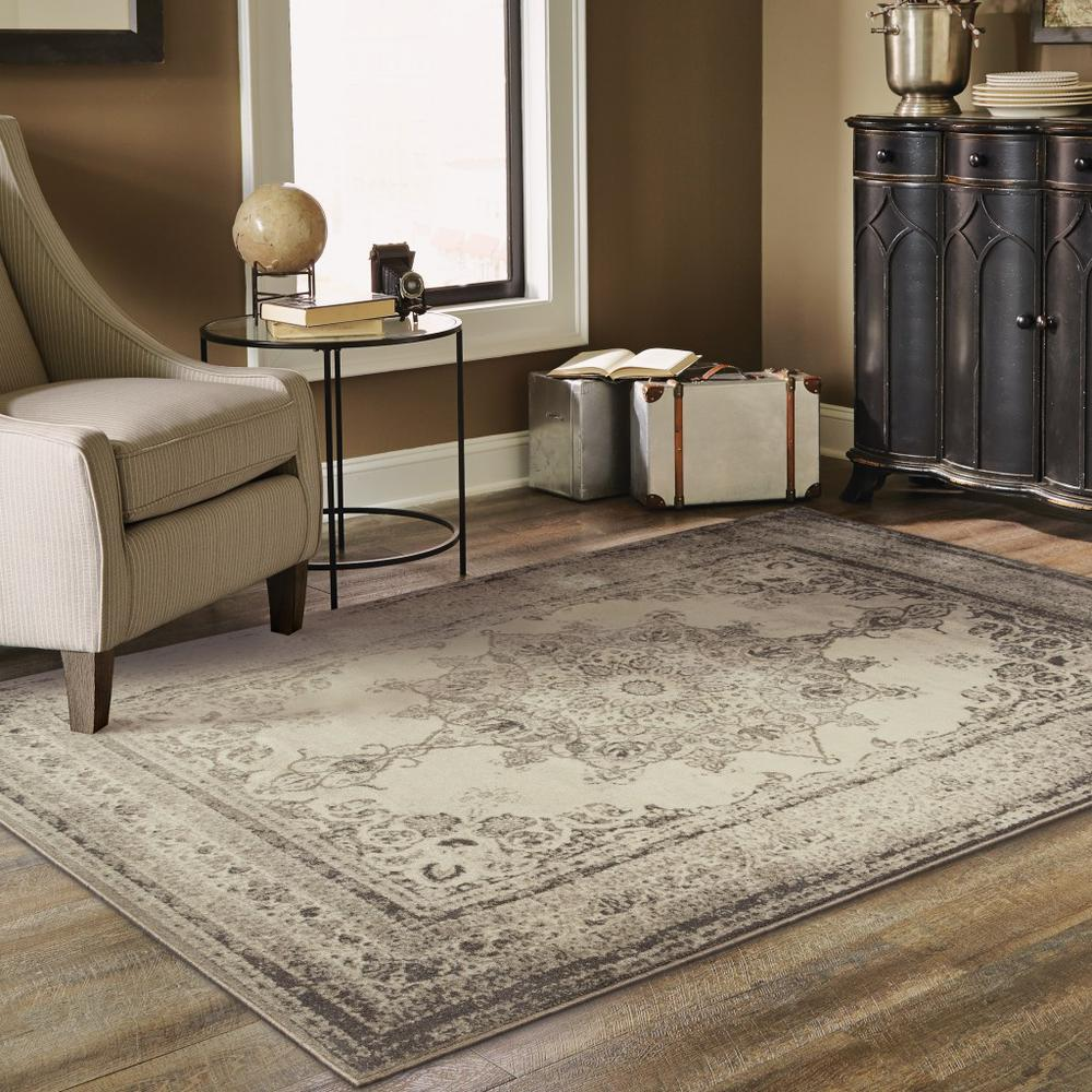 8'x11' Ivory and Gray Pale Medallion Area Rug - 388752. Picture 3