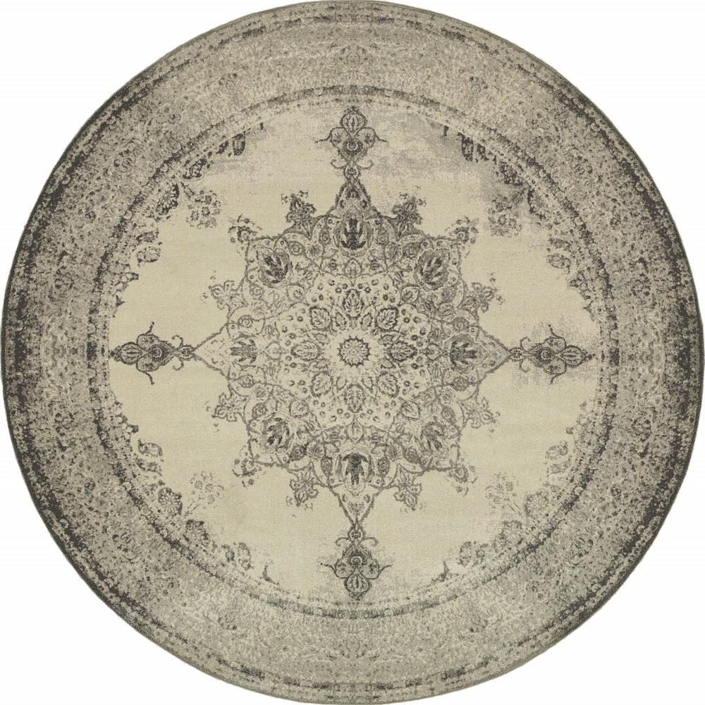 8' Round Ivory and Gray Pale Medallion Area Rug - 388753. Picture 1