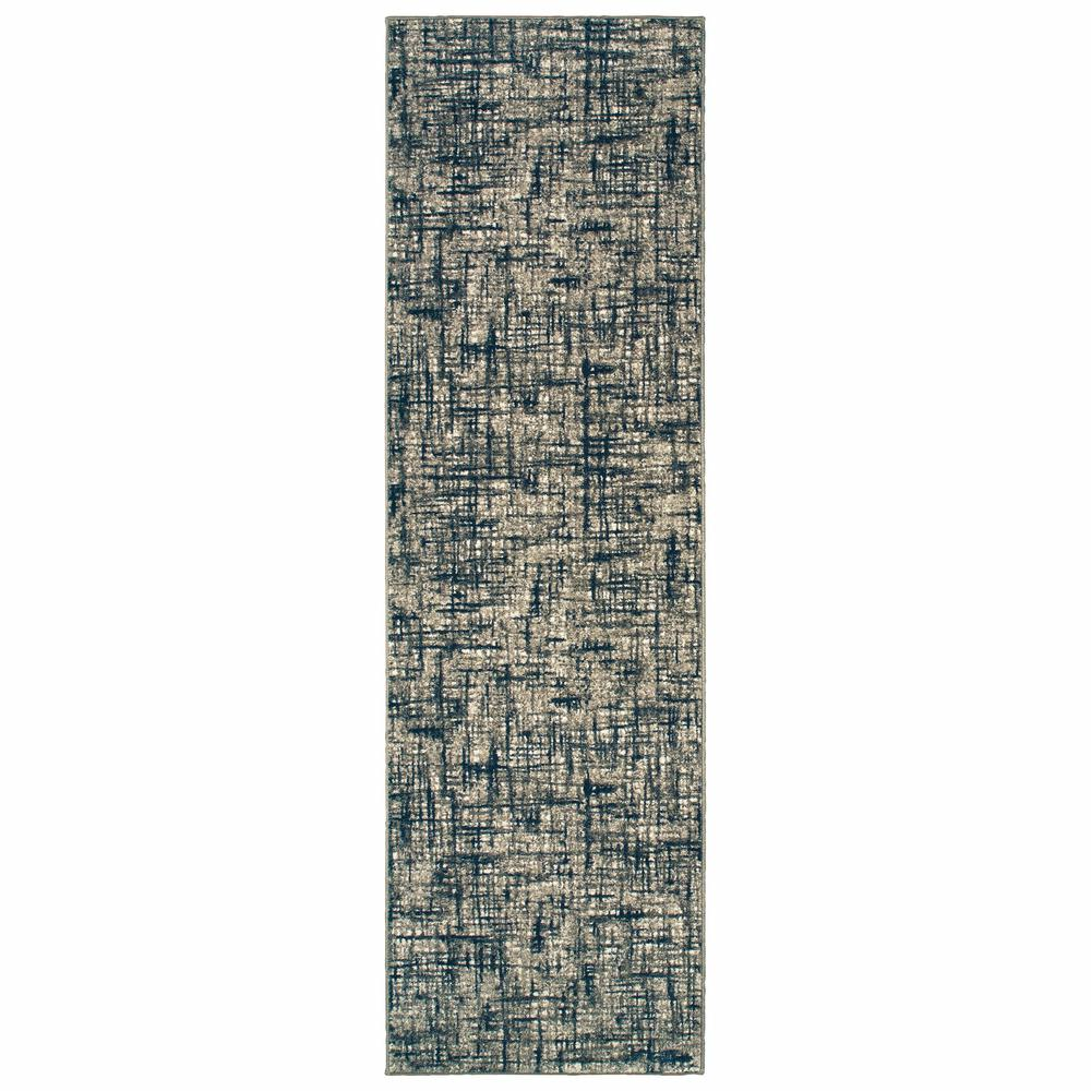 2'x8' Gray and Navy Abstract Runner Rug - 388756. Picture 1