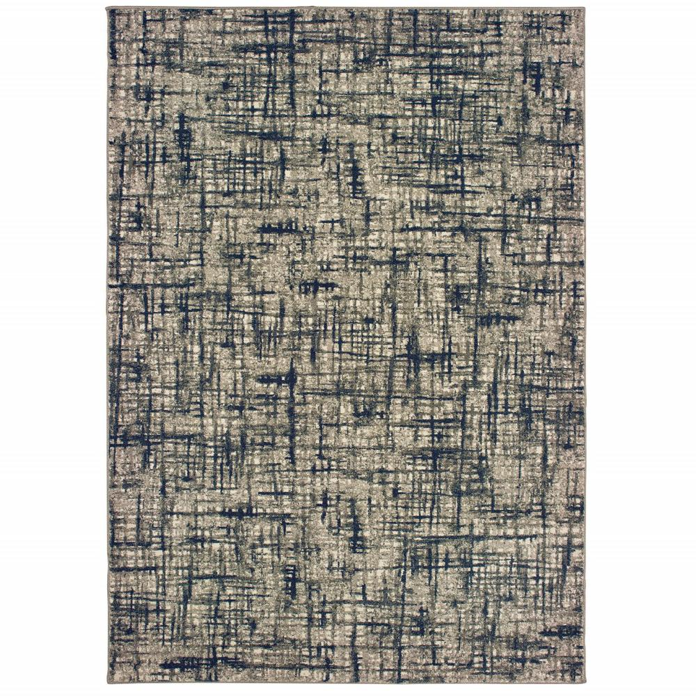8'x11' Gray and Navy Abstract Area Rug - 388760. Picture 1