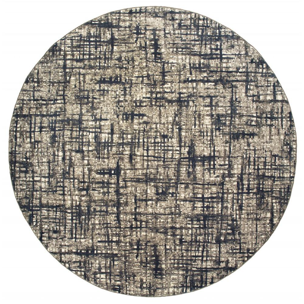 8'x11' Gray and Navy Abstract Area Rug - 388760. Picture 2