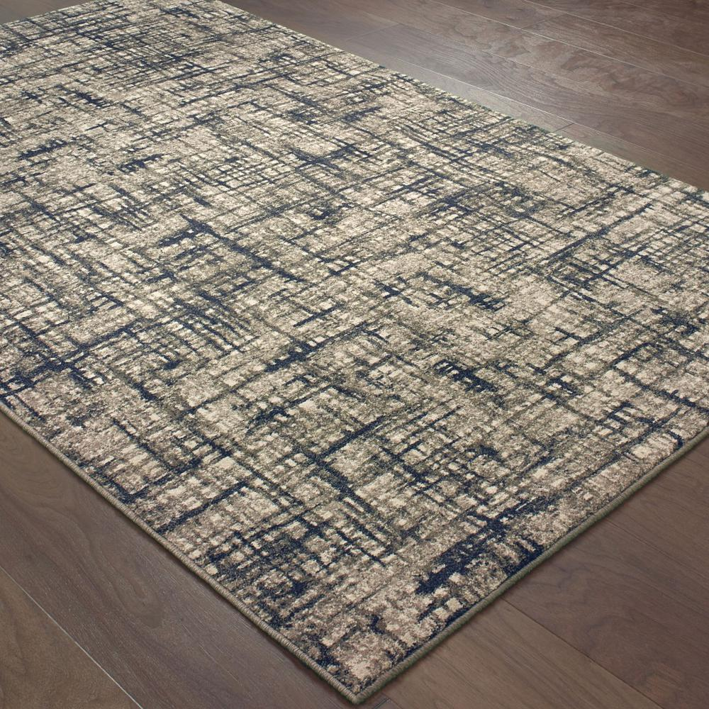 8'x11' Gray and Navy Abstract Area Rug - 388760. Picture 3