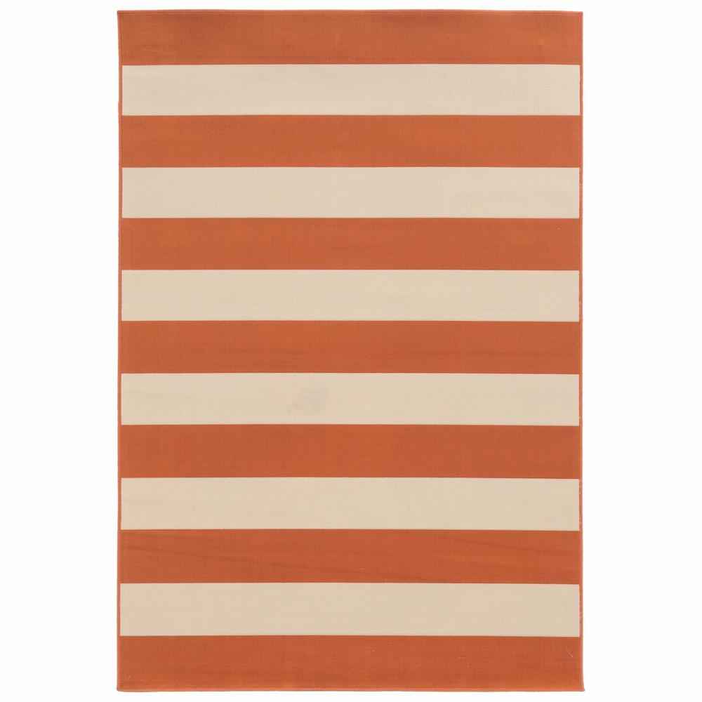 5'x8' Orange and Ivory Striped Indoor Outdoor Area Rug - 388767. Picture 1