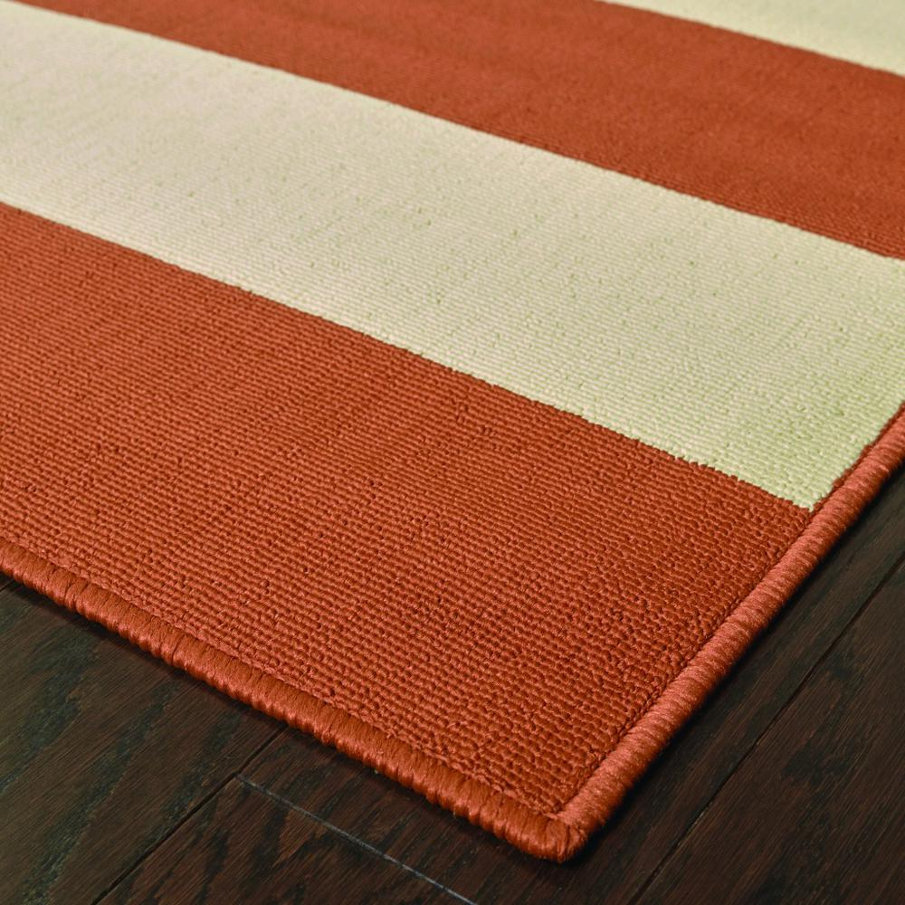 5'x8' Orange and Ivory Striped Indoor Outdoor Area Rug - 388767. Picture 2