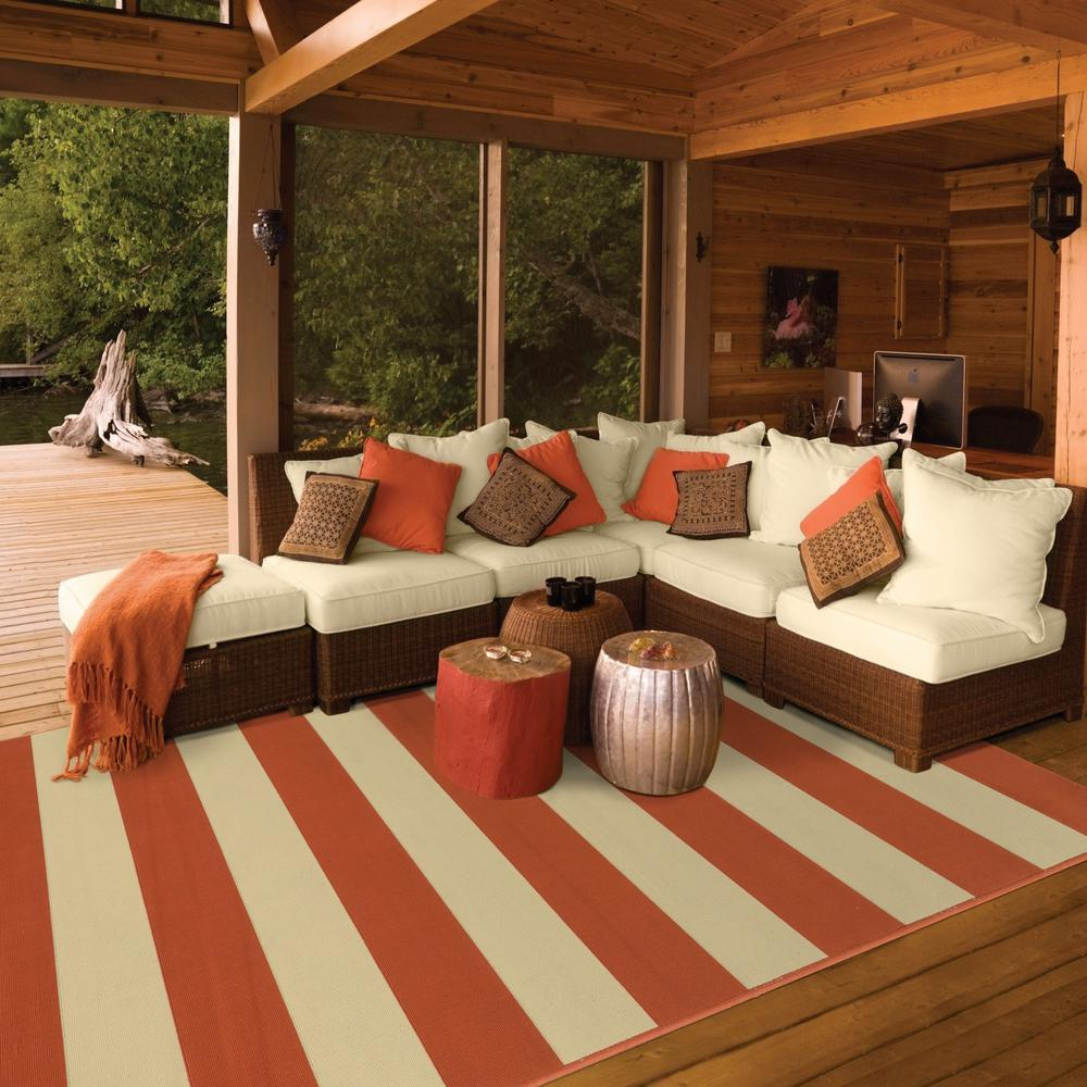 5'x8' Orange and Ivory Striped Indoor Outdoor Area Rug - 388767. Picture 3