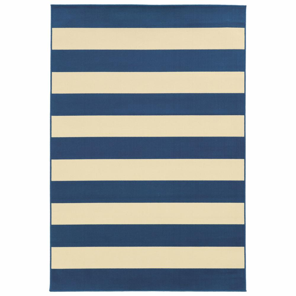 8'x11' Blue and Ivory Striped Indoor Outdoor Area Rug - 388777. Picture 1